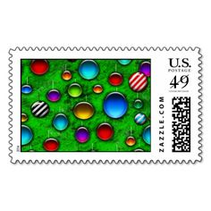 #christmas #zazzle Colorful glass ornaments on a bright green christmas tree in this fun holiday repeating pattern.