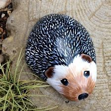 Hedgehog hand painted rock stone pebble suitable for garden or patio