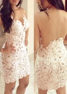 backless lace party dress