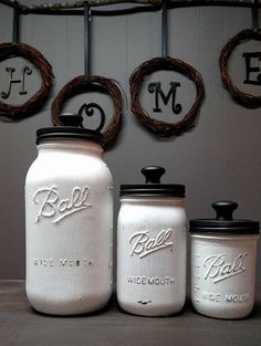 White and Black Mason Jar Kitchen Canister Set by 441Creations on Etsy
