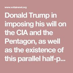 Donald Trump in imposing his will on the CIA and the Pentagon, as well as the existence of this parallel half-public, half-private network, enable us to note the complexity of his task in a world order subverted by private interests.