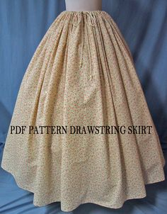 Sewing Instructions for Ladies Costume - Drawstring Waist Long Skirt - PDF… Pioneer Costume, Pioneer Dress, Sewing Clothes, Diy Clothes, Ladies Clothes, Sewing Coat, Clothing Patterns, Dress Patterns, Coat Patterns