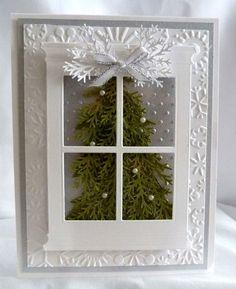 Stampin Up Handmade Silver Window Christmas Tree Card Kit   eBay