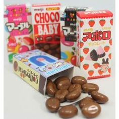 Fans of Japanese chocolates will want to take a look at this variety pack. Featuring 5 different traditional Japanese candy snacks in mini boxes for your enjoyment, Here you will enjoy Marble Chocolates, Apollo Chocolates, Choco Marble Chocolate, Chocolate Box, Japanese Chocolate, Snack Recipes, Snacks, Japanese Candy, Small Gifts, 5 Box, Food