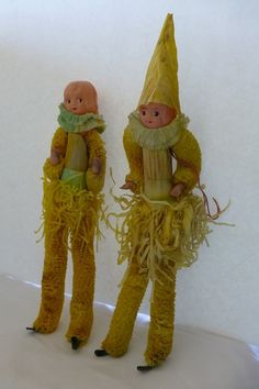 Vintage Halloween Crepe Scarecrow Corn by OldQuincySchoolhouse