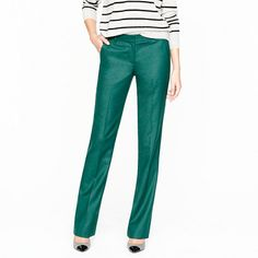 Stovepipe trouser in wool flannel J.Crew.  Fun new color for the fall work wardrobe.