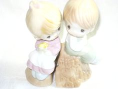 Precious Moments salt and pepper set with box by betsstuff on Etsy, $20.00
