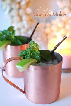 Moscow Mules - what's not to like about a drink made with vodka, ginger beer, and limes and served in a copper mug - yum!