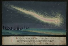 """Folio 61: """"In 1300 A.D., a terrible comet appeared in the sky and in this year, on St Andrew's Day, an earthquake shook the ground so that many buildings collapsed. At this time, Pope Boniface VIII established the first jubilee year."""" Augsburger Wunderzeichenbuch, c. 1550"""