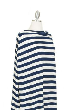 Navy & Ivory Stripe Covered Good's nursing cover
