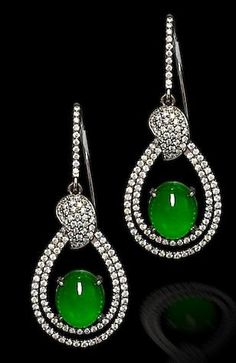 Very Fine Translucent Jadeite Earrings in a Teardrop Double Diamond Pave Frame | You can see the Rest of the Outfit and my Comments on this board. - Gabrielle