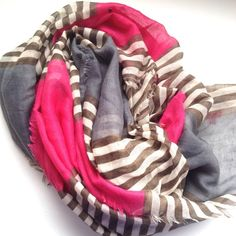 Blanket Scarf Pink Grey Like new. Semi sheer. Large versatile blanket scarf. Pink grey stripe Old Navy Accessories Scarves & Wraps