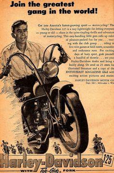The No-helmet White Shirt Bank Clerk Posse - NoWSBCPo -  Harley-Davidson Ad.