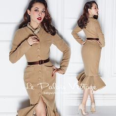 Aliexpress.com : Buy Le Palais Vintage 2016 Winter New Elegant Ladies Light Tan Slim Was Thin Single Breasted Wool Coat Women Fishtail Woolen Coats from Reliable light gm suppliers on Mr. and miss