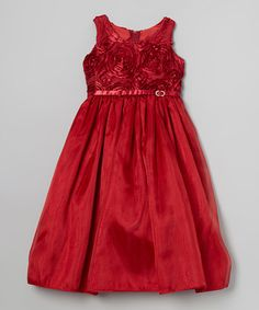 Take a look at this Red Rosette A-Line Dress - Toddler & Girls by ClassyKidzShop on #zulily today!