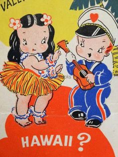 #196 WWII Soldier and Hawaiian Hula Girl-Vintage Diecut Valentine Card in Collectibles | eBay
