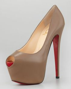 Finally a nude pump for the black girls!! I love it!!  Highness Leather Platform Pump, Grege by Christian Louboutin at Neiman Marcus.