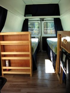 Not a Casita, but a super cute Cargo Van turned RV. - If you are looking for a small, affordable RV, I hope this article detailing how my sister Gail built her camper van will spark your DIY enthusiasm. This is not meant as a step-by-step tutorial. Cargo Trailer Conversion, Camper Van Conversion Diy, Sprinter Conversion, Sprinter Van, Mercedes Sprinter, Vw Camping, Camping Stuff, Van Bed, Transit Camper