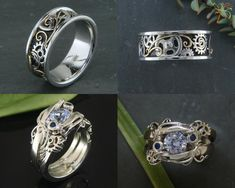 Etsy SteamPunk Mens Silver Ring Gears and Rivets Industrial