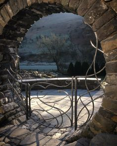 Moon gate. Made by blacksmiths at gofannon forge in Mid Wales. Hand forged with a galvanised finish.