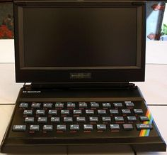 """A 9"""" ZX Spectrum 48K Laptop! This is an original ZX Spectrum with a LCD screen running off a mobile phone battery! Apparently it will run for 1 1/2 hours on a single charge - just enough time to load Elite but not enough to play it."""