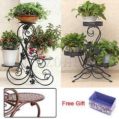 3 Tiers Metal Plant Pot Stand Flower Display Shelf Garden Patio Indoor Outdoor