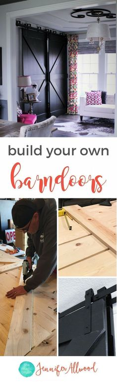 Free Tutorial: build your own black bypass b. Free Tutorial: build your own black bypass barndoors using whitewood Home Office Design, Home Office Decor, Diy Home Decor, Office Ideas, Bureau Design, Small House Decorating, Decorating Ideas, Home Remodeling Diy, Diy Wall Shelves