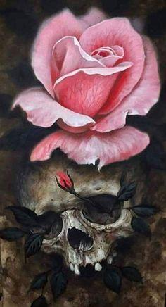 Flower Drawings Ideas skulls and roses - Skull Tattoos, Rose Tattoos, Art Tattoos, Tattoo Crane, Rose Blood, Tattoo Caveira, Dibujos Tattoo, Skull Artwork, Skeleton Art