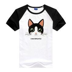 """オリジナル猫キャラブランド """"cocomania""""。かわいいハチワレ猫のキャラクター「ココア」がデザインされた半袖Tシャツです♪猫好き... ハンドメイド、手作り、手仕事品の通販・販売・購入ならCreema。"""