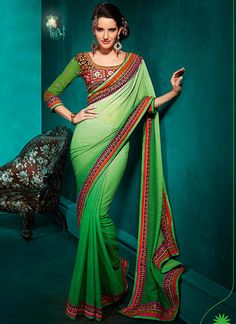 Green Ombre Dyed Georgette Saree