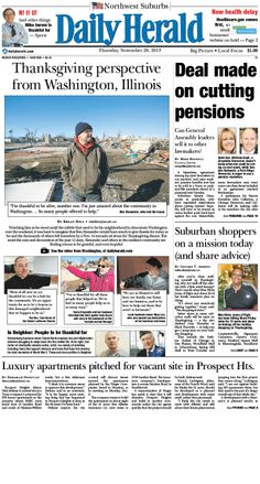 Daily Herald front page, Nov. 28, 2013; http://eedition.dailyherald.com/;