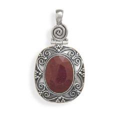 Oxidized Ruby Pendant