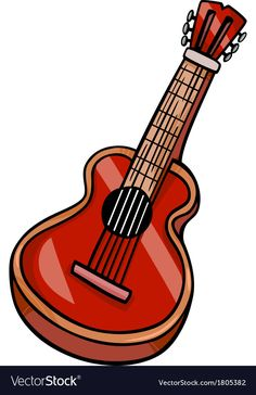 Acoustic guitar cartoon clip art vector image on VectorStock Baby Cartoon, Cartoon Pics, Christmas Gift Images, Guitar Images, African Art Paintings, Picture Dictionary, Book Letters, Music Decor, Everyday Objects