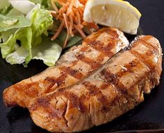 healthy Salmon Shioyaki, grilled with yuzu roasted sea salt- Salmon ...