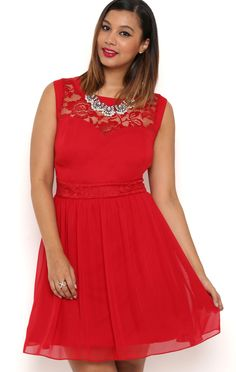 Deb Shops Plus Size A Line Dress with Sheer Lace and Carefree Skirt $41.25