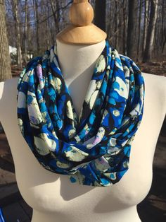 Infinity scarf silky lightweight spring blue black by NowTelevized
