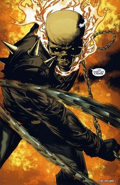 """Ghost Rider, the demon that became so good at dealing out vengeance that it became boring, requiring only a deep gaze, the """"penance stare"""". The potential of the character is rarely fulfilled beyond the art itself, which is almost always excellent. Marvel Dc, Marvel Comics Art, Fun Comics, Marvel Heroes, Captain Marvel, Marvel Comic Character, Comic Book Characters, Comic Books Art, Comic Art"""