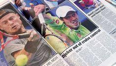 全豪オープンテニスで初戦を突破し、オーストラリア紙に大きく掲載された錦織圭の記事=21日、メルボルン ▼21Jan2015時事通信|錦織は「2番目の優勝候補」=全豪テニスで地元紙 http://www.jiji.com/jc/zc?k=201501/2015012100166 #錦織圭 #Kei_Nishikori