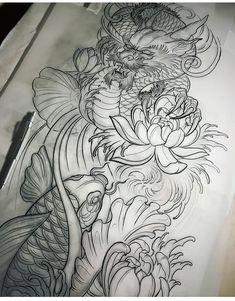 Oriental - Drawings - # drawings - Tattoo's - Oriental – Drawings – # drawings – Tattoo's - Koi Dragon Tattoo, Dragon Tattoo For Women, Dragon Sleeve Tattoos, Japanese Dragon Tattoos, Japanese Tattoo Art, Japanese Sleeve Tattoos, Dragon Tattoo Designs, Sleeve Tattoos For Women, Tattoo Geometrique
