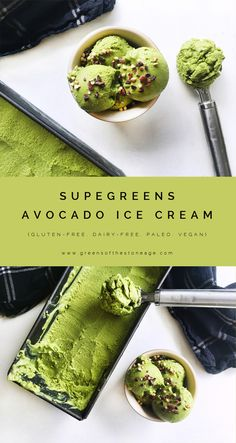 Calling all avocado lovers: just one bite of this Supergreens Avocado Ice Cream and you'll be coming back for more. Get your 5 a day in a tasty way! paleo dessert for one Healthy Nutrition, Healthy Snacks, Healthy Eating, Nutrition Articles, Nutrition Websites, Vegetarian Recipes, Cooking Recipes, Healthy Recipes, Easy Avocado Recipes