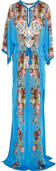Roberto Cavalli Floral Print Fine Knit Maxi Dress - Lyst