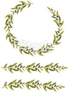 Olive Branch Wreath (vector) Royalty Free Stock Vector Art Illustration