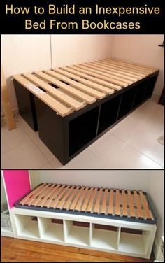 Using bookcases as a bed frame is one easy way to build a bed with storage. Using bookcases as a bed frame is one easy way to build a bed with storage. - Using bookcases as a bed frame is one easy way to build a bed with storage. Ikea Bedroom Storage, Diy Storage Bed, Bed Frame With Storage, Diy Bed Frame, Storage Spaces, Easy Frame, Diy Storage Ideas For Small Bedrooms, Bedroom Organization, Diy Queen Bed Frame