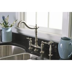 Premier Faucet Charlestown Two Handle Widespread Bridge Faucet with Matching Spray & Reviews | Wayfair