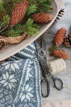 Christmas winter Scandanavian style mittens old scissors pine cones antique dough bowl twine