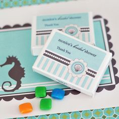 Personalized Gum Boxes - Beach Party at WeddingFavors.org