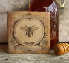 French Bee Art Cottage Honey Bee Encaustic by KissedByABee on Etsy from KissedByABee on Etsy. Saved to French Country Escape. Hives And Honey, Honey Bees, Tupelo Honey, I Love Bees, Bee Art, Encaustic Painting, Save The Bees, Bee Happy, Bees Knees