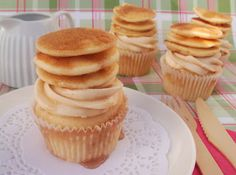 Pancake Cupcakes -- I think I would just stack mini cupcakes in a liner and then frost the top or make the cupcakes and frost them, not add the stack on top.