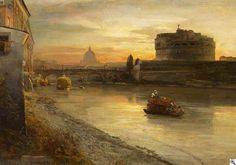 Oswald Achenbach - Rom. Abendstimmung am Tiber mit Blick auf die Engelsburg
