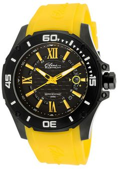 Elini Barokas 10196-BB-01-YLA Watches,Men's Artisan Black Textured Dial Yellow Rubber, Men's Elini Barokas Quartz Watches